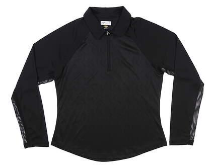 New Womens Greg Norman 1/4 Zip Golf Pullover Medium M Black MSRP $80 G2S8K472