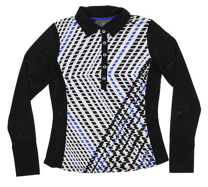New Womens GG BLUE Long Sleeve Polo X-Small XS Multi MSRP $86
