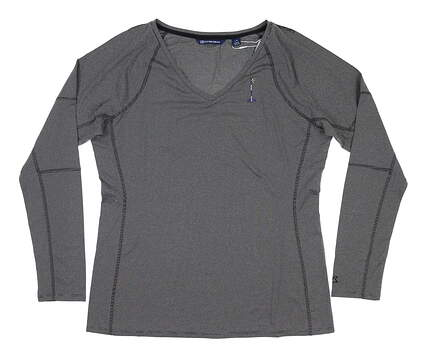 New W/ Logo Womens Cutter & Buck Long Sleeve T-Shirt Large L Navy Blue MSRP $60 LCK08701