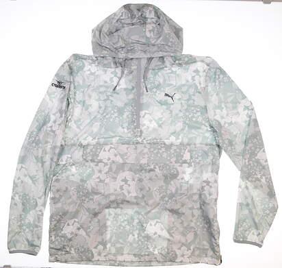 New W/ Logo Mens Puma 1/4 Zip TournAMENt Jacket Large L Gray MSRP $90 596390 01