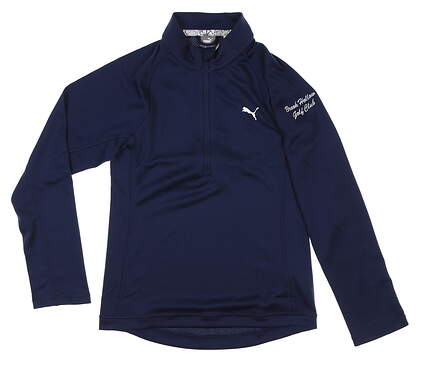 New W/ Logo Youth Boys Puma 1/4 Zip Golf Pullover Large L Navy Blue MSRP $50 579139