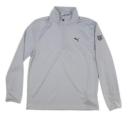 New W/ Logo Youth Boys Puma 1/4 Zip Pullover Large L Gray MSRP $50 578139 04