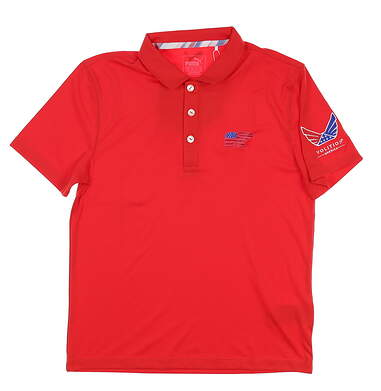 New W/ Logo Youth Boys Puma Golf Polo Medium M Red MSRP $45 575157 03