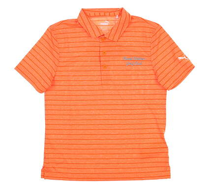 New W/ Logo Youth Puma Boys Rotation Stripe Polo Medium M Orange MSRP $35 579548 05