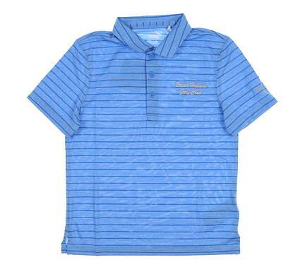 New W/ Logo Youth Puma Boys Rotation Stripe Polo Large L Blue MSRP $35 579648