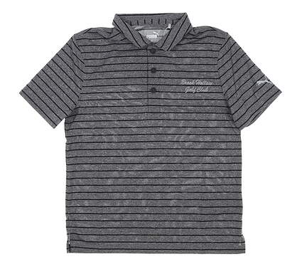 New W/ Logo Youth Puma Boys Rotation Stripe Polo Large L Black MSRP $35