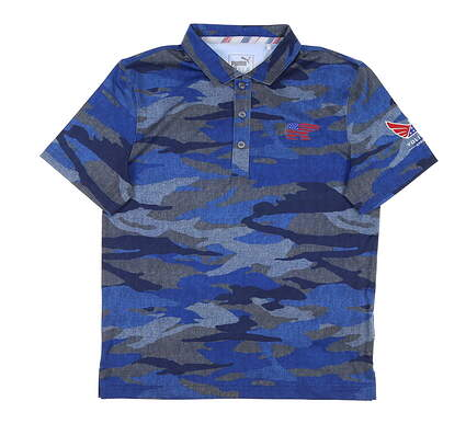 New W/ Logo Youth Puma Boys Volition Polo Large L Blue MSRP $20 576112 01