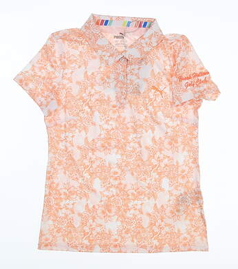 New W/ Logo Youth Puma Girls Floral Polo Large L Cantaloupe MSRP $40 598678