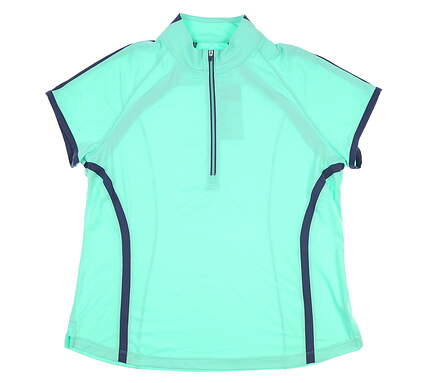 New Womens Zero Restriction Cap Sleeve Golf Polo X-Large XL Green MSRP $85 0571L