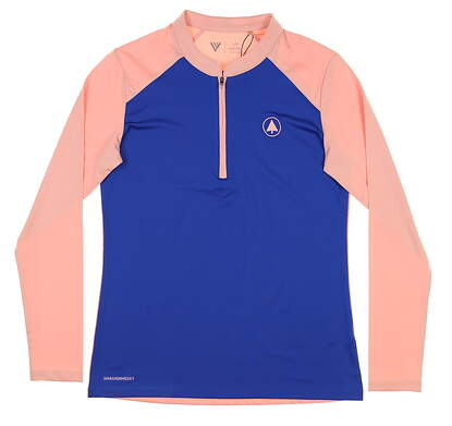 New W/ Logo Womens Level Wear 1/4 Zip Golf Pullover Small S Blue/Pink MSRP $65 Bl14L