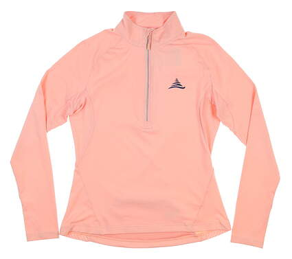 New W/ Logo Womens Level Wear 1/2 Zip Golf Pullover Small S Pink MSRP $65 JL00L