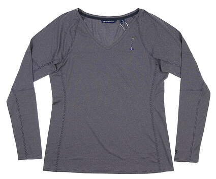 New W/ Logo Womens Cutter & Buck Long Sleeve V-Neck Large L Navy Blue MSRP $60 LCK08701