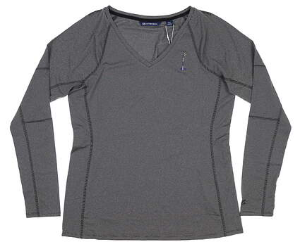 New W/ Logo Womens Cutter & Buck Long Sleeve V-Neck Large L Black MSRP $60 LCK08701