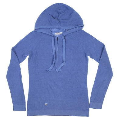 New Womens Straight Down 1/4 Zip Hooded Sweater Small S Blue MSRP $80 W90124