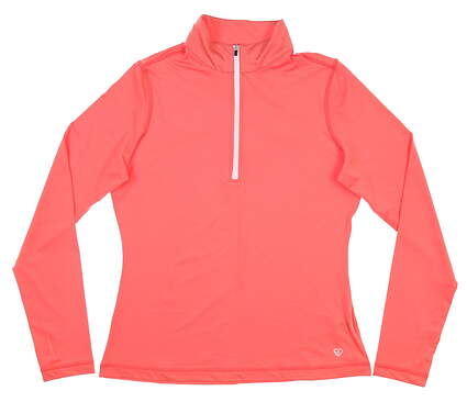 New Womens Straight Down 1/4 Zip Golf Pullover Small S Pink MSRP $84 W14251