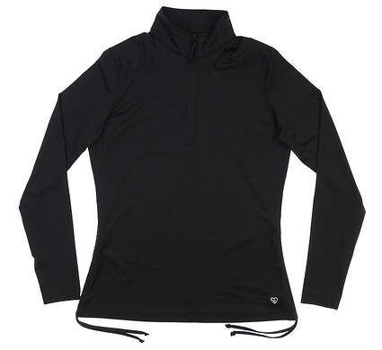 New Womens Straight Down 1/4 Zip Golf Pullover Small S Black MSRP $84 W14256