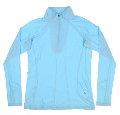 New Womens Straight Down 1/4 Zip Golf Pullover Small S Blue MSRP $84 W14220