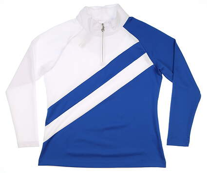 New Womens Sport Haley 1/4 Zip Golf Pullover Large L White/Blue MSRP $110