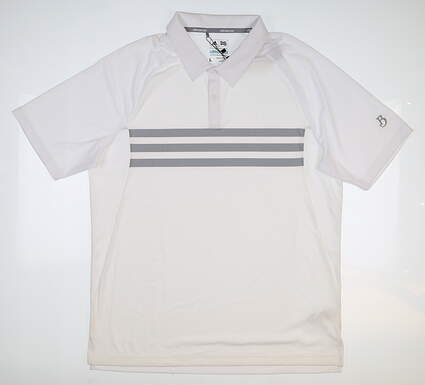 New W/ Logo Mens Adidas Climacool 3-Stripe Polo Large L White MSRP $65 BC1725