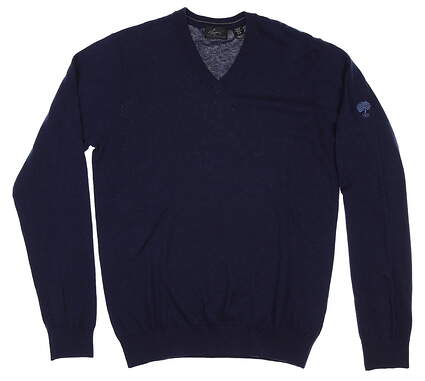 New W/ Logo Mens Greg Norman V-Neck Sweater Small S Navy Blue MSRP $90