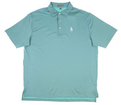 New W/ Logo Mens Peter Millar Golf Polo X-Large XL Green MSRP $79 MS18EK01S