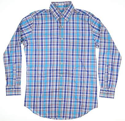 New Mens Peter Millar Cotton Button Down Medium M Multi MSRP $125 MS16W11CBL