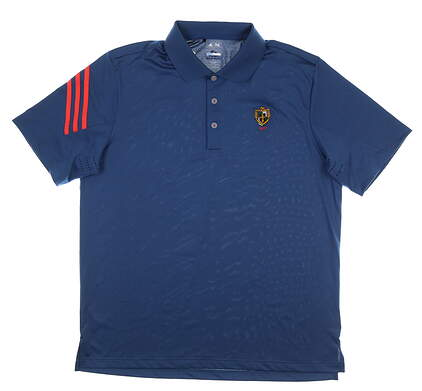 New W/ Logo Mens Adidas Golf Polo Large L Blue MSRP $65