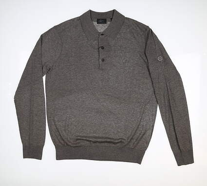 New W/ Logo Mens Greg Norman Sweater Polo Large L Gray MSRP $105 G7F8S181