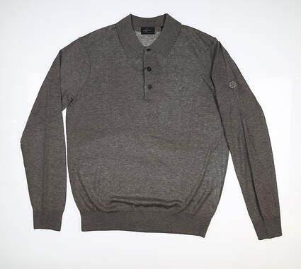 New W/ Logo Mens Greg Norman Sweater Polo Medium M Gray MSRP $60 G7F8S181