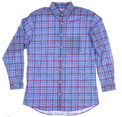 New W/ Logo Mens DONALD ROSS Button Up Medium M Blue DR583-218