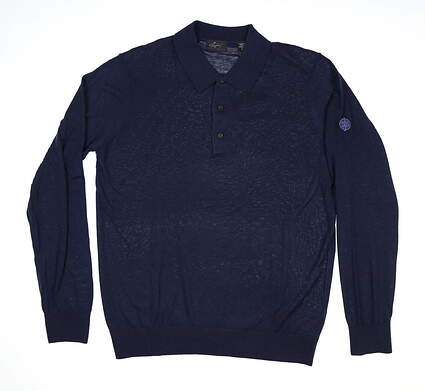New W/ Logo Mens Greg Norman Sweater Polo Large L Navy Blue MSRP $105 G7F8S181