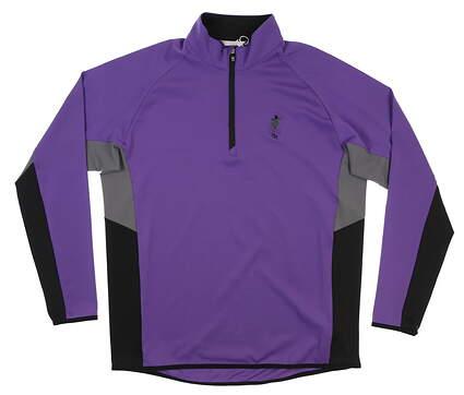 New W/ Logo Mens Cutter & Buck 1/4 Zip Pullover Large L Purple MSRP $90 MCK00136