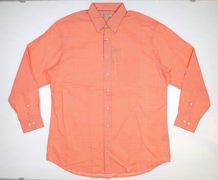 New Mens DONALD ROSS Button Down Large L Orange MSRP $145 DR349