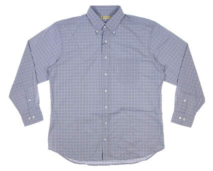 New Mens DONALD ROSS Button Up Large L Blue MSRP $145 DR619