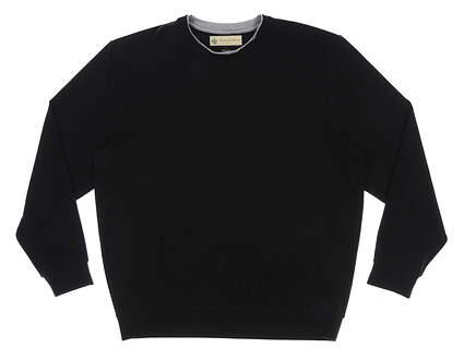 New Mens DONALD ROSS Fleece Crewneck Pullover Large L Black MSRP $145 DR301