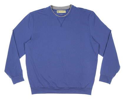 New Mens DONALD ROSS Fleece Crewneck Pullover Large L Blue MSRP $145 DR301