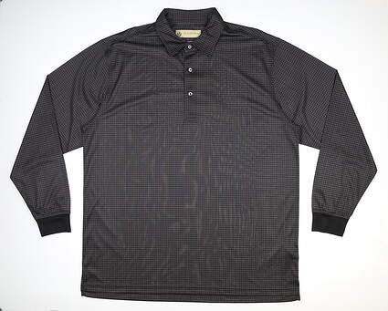 New Mens DONALD ROSS Long Sleeve Golf Polo Large L Black MSRP $100 DRP025LS