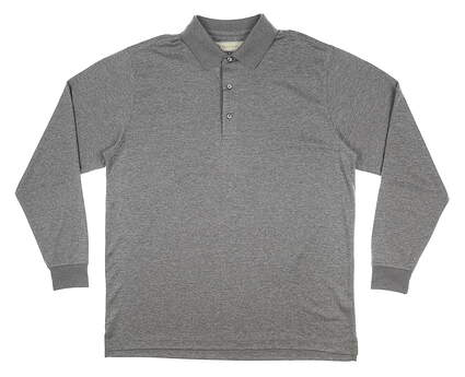New Mens DONALD ROSS Long Sleeve Polo Medium M Gray MSRP $100 DR158