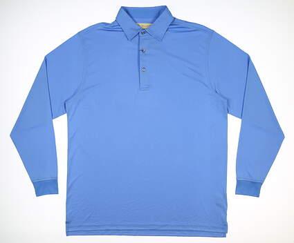 New Mens DONALD ROSS Long Sleeve Golf Polo Large L Blue MSRP $100 DRJDLLS