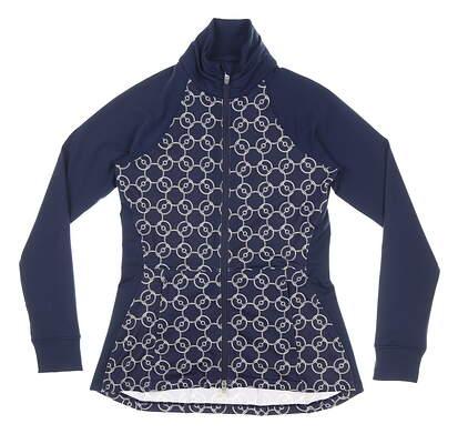 New Womens Peter Millar Full Zip Mock Neck Large L Navy Blue MSRP $129 LS20EK16D