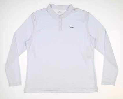 New W/ Logo Womens Nike Long Sleeve Polo X-Large XL Gray MSRP $70 AV3682-043