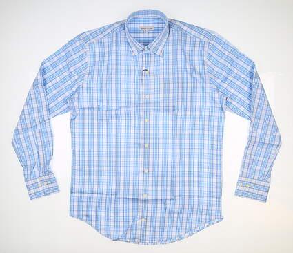New Mens Peter Millar Button Down Medium M Blue MSRP $148 MS20W19NBL
