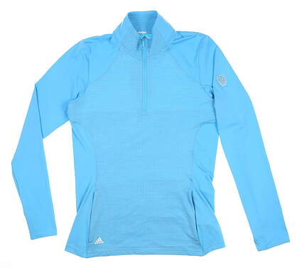 New W/ Logo Womens Adidas Knit 1/2 Zip Pullover Small S Blue MSRP $80 DP5794