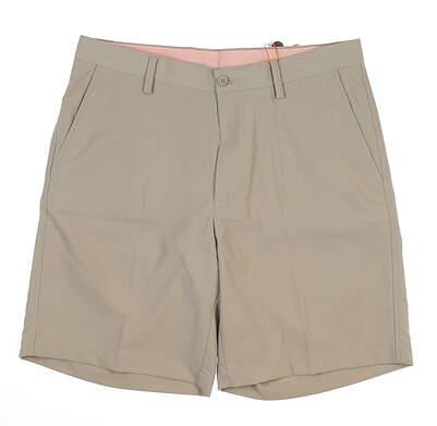 New Mens Fennec Flat Front Golf Shorts 33 Khaki MSRP $85 000F600