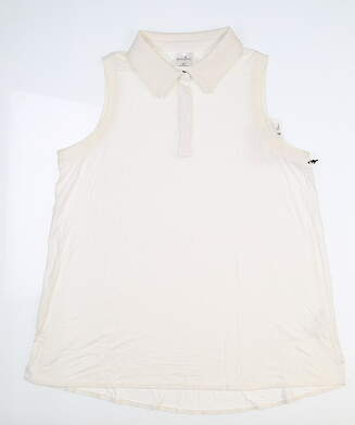 New Womens Belyn Key Rib Trim Sleeveless Polo Medium M White MSRP $79 TSL0008-CLK