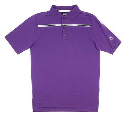 New W/ Logo Mens Footjoy Lisle Chest Golf Polo Small S Plum MSRP $80 20393