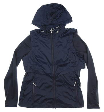 New Womens Cutter & Buck Ava Hybrid Jacket Medium M Navy Blue MSRP $115 LCO09993