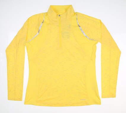New Womens Cutter & Buck Annika 1/4 Zip Pullover Medium M Yellow MSRP $110 LCK00080