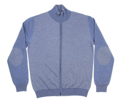 New Mens BUGATCHI Full Zip Sweater Small S Blue MSRP $225 GH1003C18