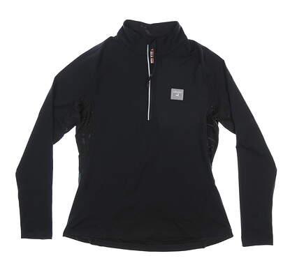 New W/ Logo Womens Level Wear 1/2 Zip Pullover Large L Black MSRP $65